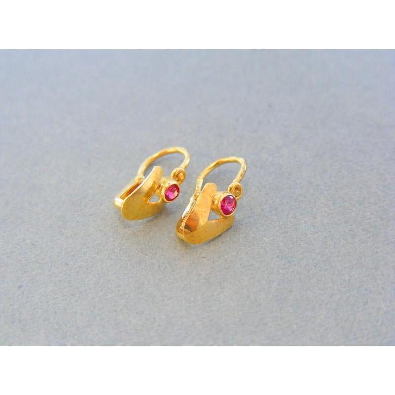 93dc6bbf3 Zlaté detské náušnice žlté zlato ružový zirkón VA103Z. Loading zoom