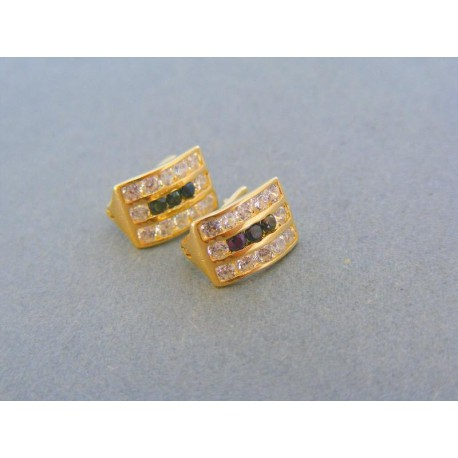 5ff4e52b0 Zlaté náušnice dámske žlté zlato kamienky VA186Z   I-Zlato.sk