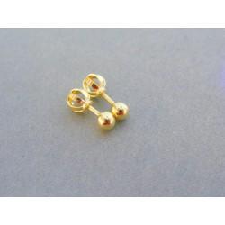 Zlaté dámske náušnice šrubovačky guličky VDA061Z