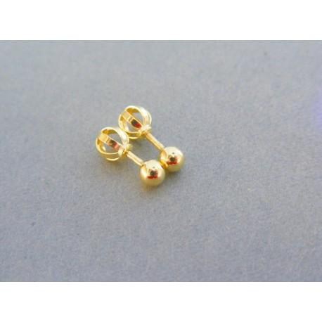 Zlaté dámske náušnice šrubovačky guličky VA061Z