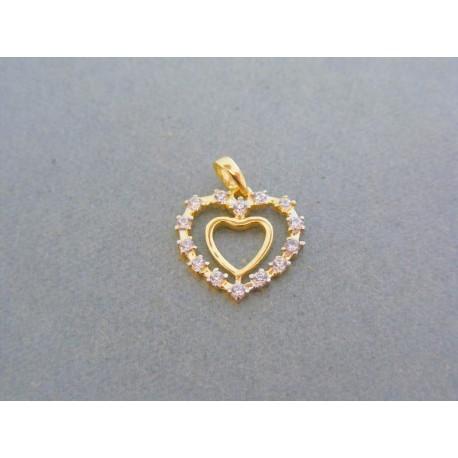 Zlatý prívesok srdiečka trblietavé zirkóny DI093Z 89b3e227e27