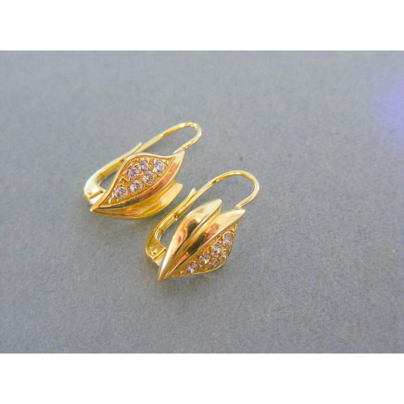 022ad6569 Zlaté dámske náušnice žlté zlato kamienky DA343Z. Loading zoom