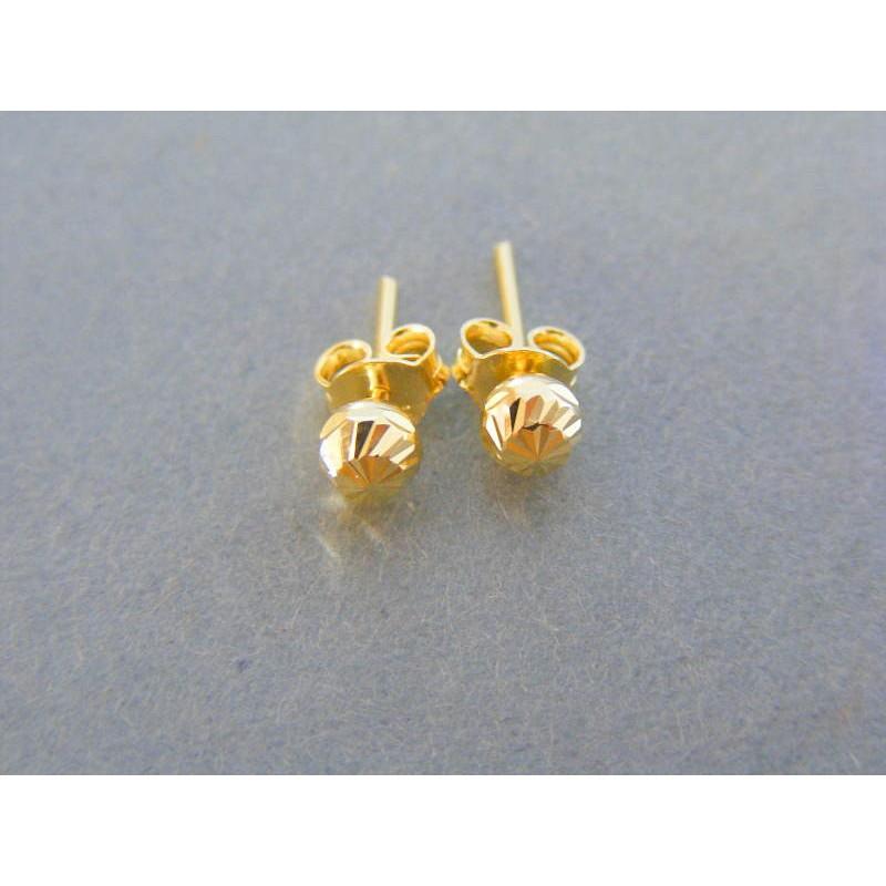 Zlaté dámske náušnice guličky vzorované žlté zlato DA074Z. Loading zoom 5d1cd99478e