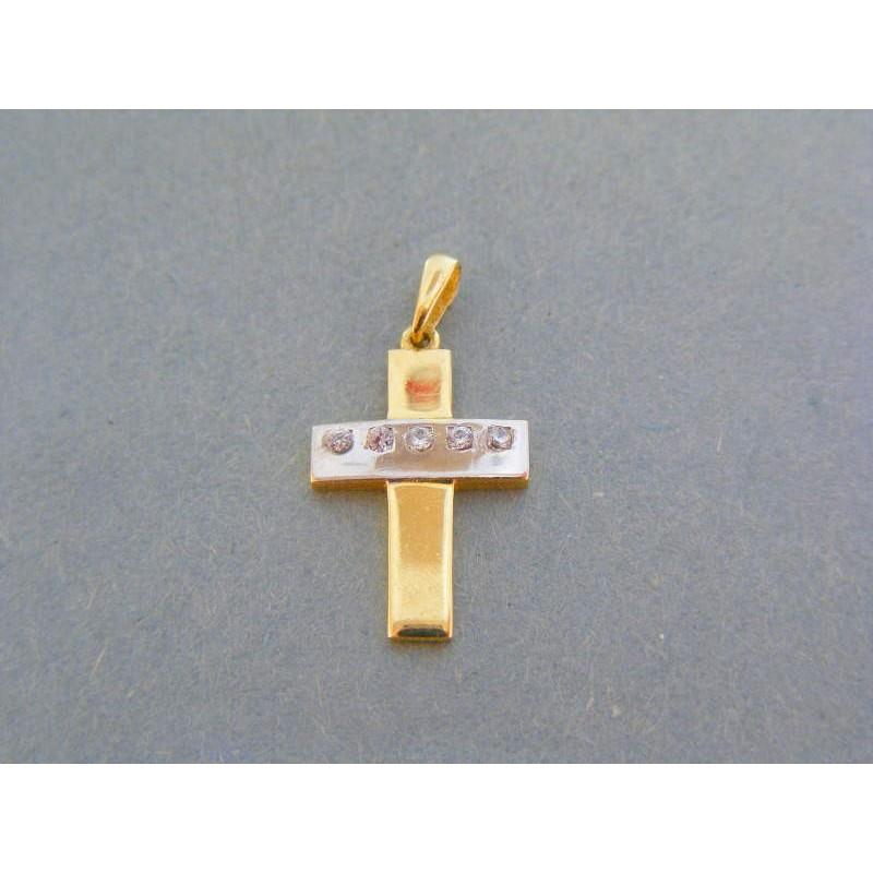 d5a031ebe Zlatý prívsok krížik žlté biele zlato zirkóny VIK095V. Loading zoom