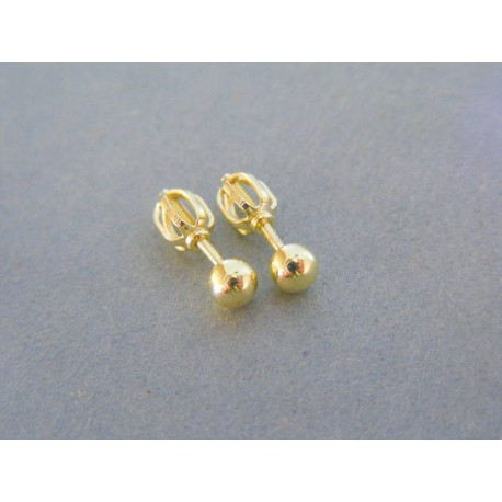 Zlaté dámske náušnice guličky šrubovačky žlté zlato VA098Z 14 karátov  585 1000 0.98g. Loading zoom 43651a03b49