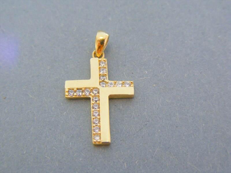 1cca316ac Zlatý prívesok krížik žlté zlato kamienky zirkónu DIK149Z 14 karátov 585/ 1000 1.46g. Loading zoom