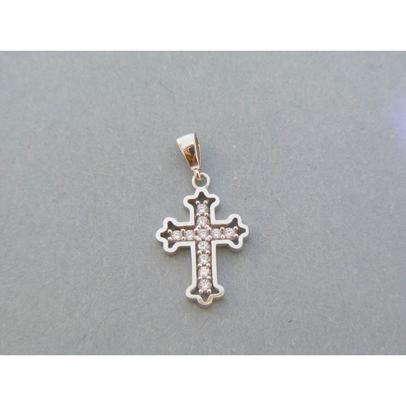 161f34002 Zlatý prívesok krížik biele zlato kamienky zirkónu DIK130B 14 karátov 585/ 1000 1.30g. Loading zoom