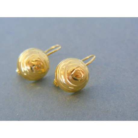 Zlaté dámske náušnice pol guličky žlté zlato vzorované VA201Z 14 karátov  585 1000 2.01g. Loading zoom d90050b2f49
