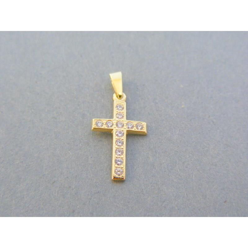 4330aa74d Zlatý prívesok krížik žlté zlato kamienky VIK077Z 14 karátov 585/1000  0.77g. Loading zoom