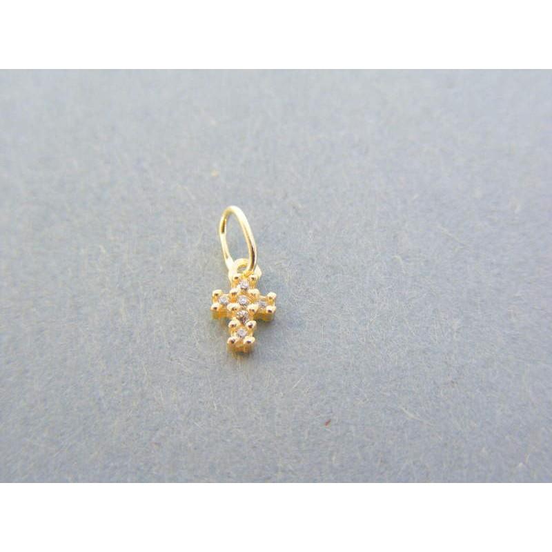 f7ad5dc1f Zlatý prívesok krížik žlté zlato kamienky VIK021Z 14 karátov 585/1000  0.21g. Loading zoom