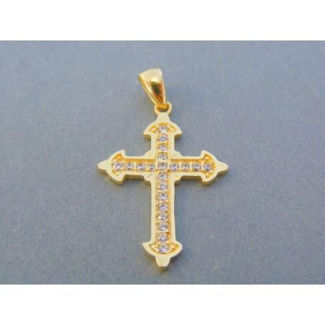 de6e4f522 Zlatý prívesok krížik žlté zlato kamienky zirkónu DIK186Z 14 karátov 585/ 1000 1.86g. Loading zoom
