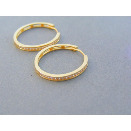 Zlaté náušnice kruhy žlté zlato kamienky DA295Z 14 karátov 585 1000 2.95g f1634c4070a
