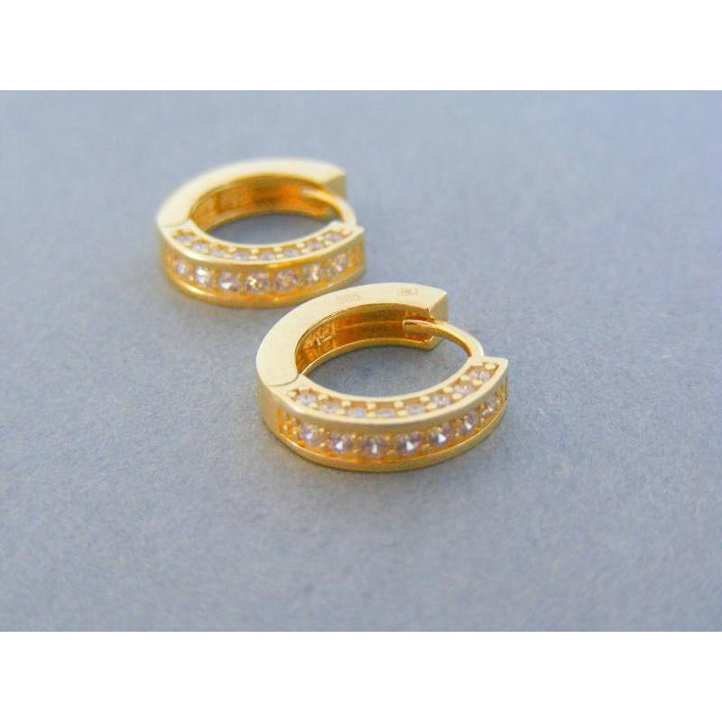 25bd1e19f Zlaté dámske náušnice kruhy žlté zlato kamienky DA455Z 14 karátov 585/1000  4.55g. Loading zoom