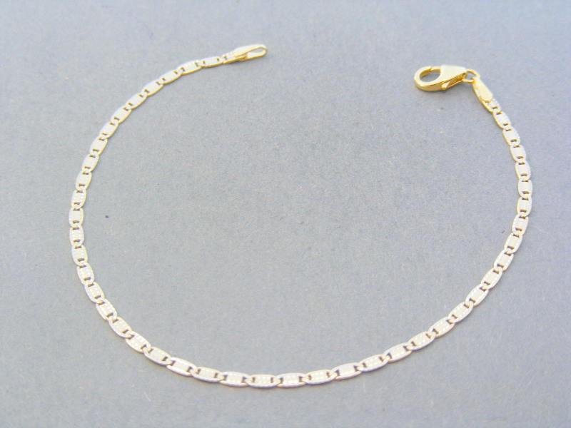 851734c20 Zlatý náramok platničky žlté biele zlato jemný vzor DN18180V 14 karátov  585/1000 1.80g. Loading zoom