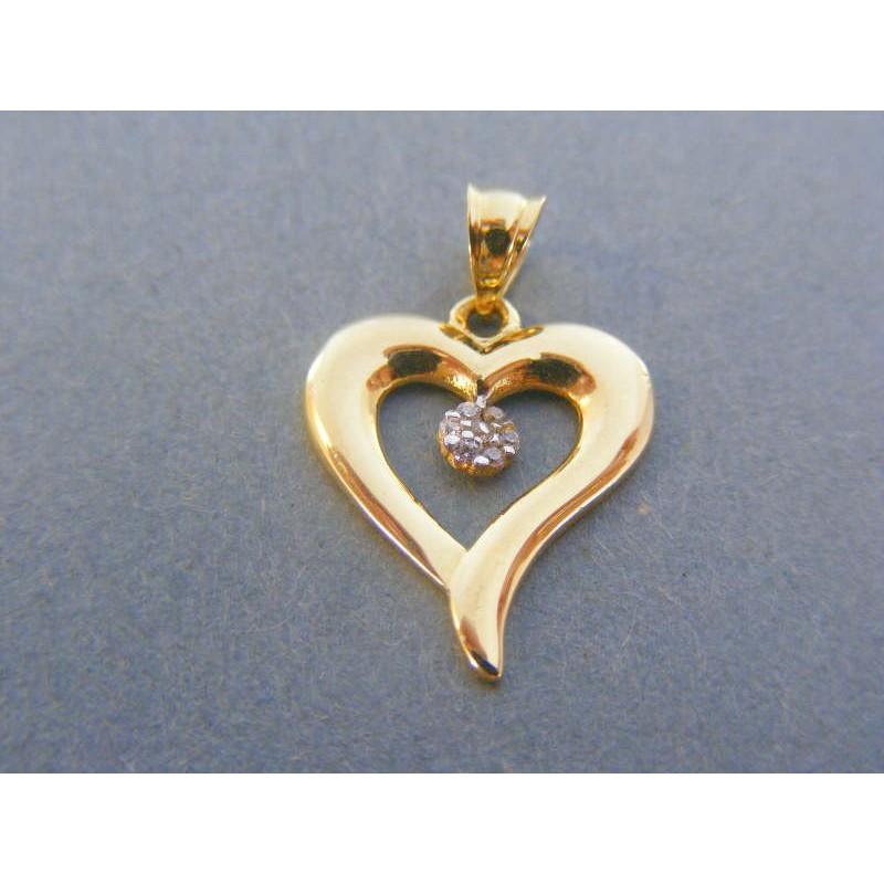 Zlatý prívesok srdiečko žlté zlato zirkóny VI108Z 14 karátov 585 1000  1.08g. Loading zoom bd19e1a8b69