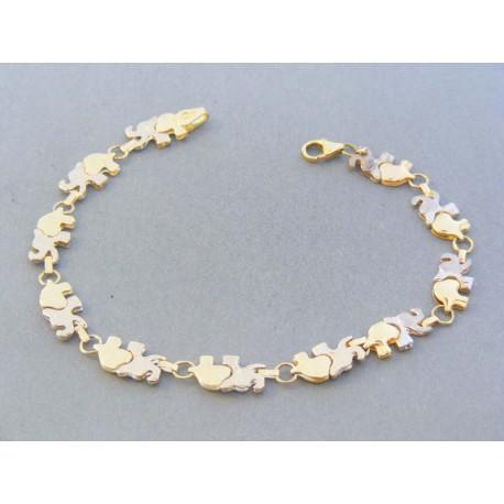 Zlatý náramok dámsky žlté biele zlato slony DN19624V 14 karátov 585 1000  6.24g 622c361ab8d