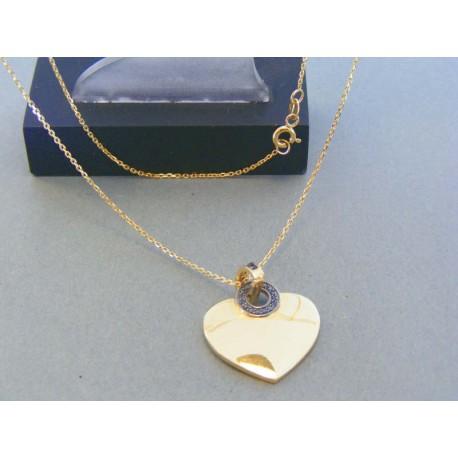 52a54085e Zlatá retiazka s príveskom srdiečka kamienky žlté zlato DR45440Z 14 karátov  585/1000 4.40g