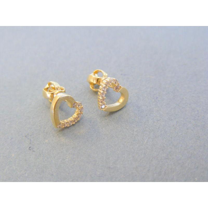 ad36e6381 Zlaté dámske náušnice žlté zlato srdiečko kamienky VA145Z 14 karátov  585/1000 1.45g. Loading zoom