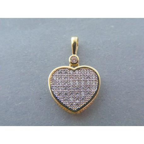 4db2f56ef Zlatý dámsky prívesok srdce žlté zlato zirkóny VI167Z 14 karátov 585/1000  1.67g