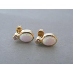 Zlaté náušnice s opálom VA220/1 14 karátov 585/1000 2.90g