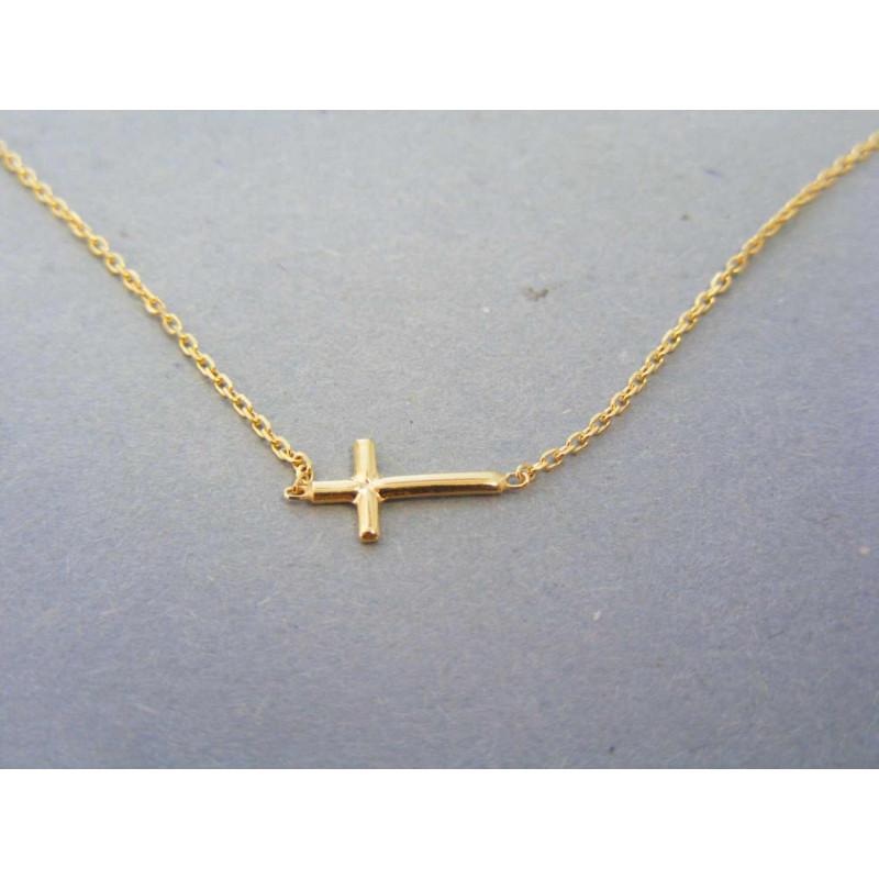48b712ce7 Zlatá dámska retiazka krížik žlté zlato DR45162Z 14 karátov 585/1000 1,62g.  Loading zoom