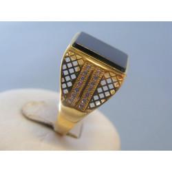 Zlatý pánsky prsteň onyx zirkóny žlté zlato VP65767Z 14 karátov 585/1000 7,67g