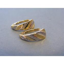 Zlaté dámske náušnice vzorované viacfarebné zlato VA122V 14 karátov 585/1000 1,22g