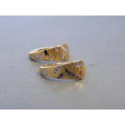 Zlaté dámske náušnice vzorované žlté biele zlato VA122V 14 karátov 585/1000 1,22g