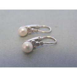 Zlaté detské náušnice s perlou biele zlato VA165B 14 karátov 585/1000 1,65g
