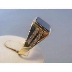Zlatý pánsky prsteň onyx zirkóny žlté zlato DP64624Z 14 karátov 585/1000 6,24g
