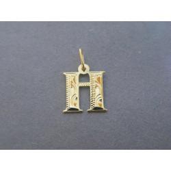 Zlatý prívesok písmeno H žlté zlato DI042Z 14 karátov 585/1000 0,42g