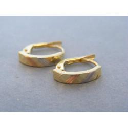 Zlaté dámske náušnice vzorované viacfarebné zlato DA159V 14 karátov 585/1000 1,59g