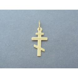 Zlatý prívesok krížik pravoslávny žlté zlato DI045Z 14 karátov 585/1000 0,45g