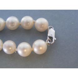 Biely perlový náhrdelník strieborné zapínanie VRS486557 925/1000 65,57g