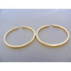 Dámske naušnice kruhy hranaté žlté zlato DA776Z 14 karátov 585/1000 7,76 g