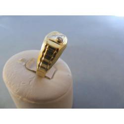 Zlatý pánsky prsteň vzorovaný viacfarebné zlato zirkóny DA66248V 14 karátov 585/1000 2,48 g