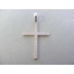 Zlatý prívesok kríž biele zlato zirkóny VI224B 14 karátov 585/1000 2,24 g