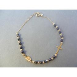 Dámsky zlatý náramok korálky krížik VN195347Z 14 karátov 585/1000 3,47 g