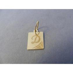 Zlatý prívesok pismeno D žlté zlato DI050Z 14 karátov