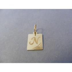 Zlatý prívesok pismeno N žlté zlato DI050Z 14 karátov 0,50 g