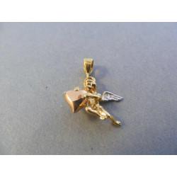Zlatý prívesok Anjelík viacfarebné zlato DI166V 14 karátov 585/1000 1,66 g
