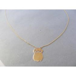 Zlatá dámska retiazka Selebritka s príveskom Sovička žlté zlato DR45202Z 14 karátov 585/1000 2,02 g