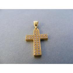Zlatý prívesok tvar kríž žlté zlato zirkóny DI131Z 14 karátov 585/1000 1,31 g