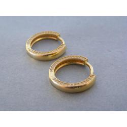Dámske zlaté naušnice kruhy zirkóny VA351Z žlté zlato 14 karátov 585/1000 3,51 g