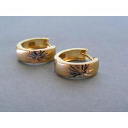 Zlaté dámske naušnice malé kruhy viacfarebné zlato VA196V 14 karátov 585/1000 1,96 g
