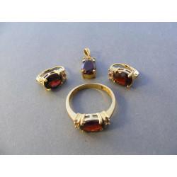 Dámska zlatá súprava prívesok, naušnice, prsteň VS57843Z žlté zlato zirkóny 14 karátov 585/1000 8,43 g
