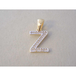 Zlatý prívesok písmenko Z žlté zlato zirkóny VI069V viacfarebné zlato 14 karátov 585/1000 0,69 g