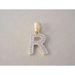 Zlatý prívesok dámsky písmeno R zirkóny VI067Z žlté zlato 14 karátov 585/1000 0,67 g