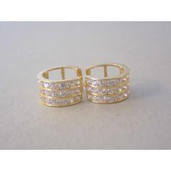 Dámske zlaté naušnice malé kruhy zirkóny DA185Z žlté zlato 14 karátov 585/1000 1,85 g
