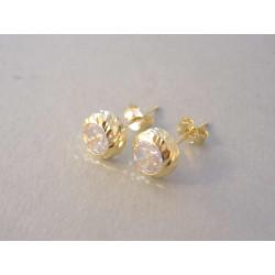 Zlaté naušnice napichovačky žlté zlato zirkón DA136Z 14 karátov 585/1000 1,36 g